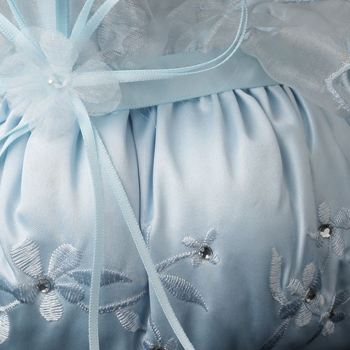 Light Blue Lace Ribbon & Sheer Organza Floral Design Flower girl Basket 3 w/ Crystal & Pearl Accents