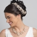 Light Gold Champagne Clear Rhinestone Floral Vine Bridal Wedding Necklace 10003 & Flower Stud Earrings 10003 Jewelry Set