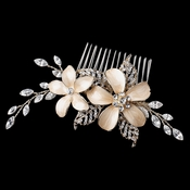Light Gold Champagne Enameled Flower Hair Comb w/ Rhinestones Comb 40