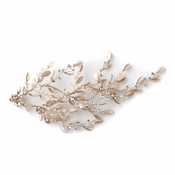 Light Gold Champagne Pearl & Rhinestone Leaf Bridal Wedding Hair Clip 10006