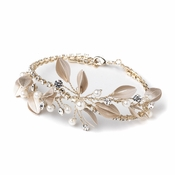 Light Gold & Champagne Rhinestone Pearl Leaf Bridal Wedding Bracelet 10006