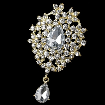 Light Gold Clear Dangle Rhinestone & Gemstone Brooch 3438