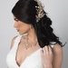 Light Gold Clear Rhinestone & Champagne Pearl Floral Vine Bridal Wedding Jewelry Set 10006