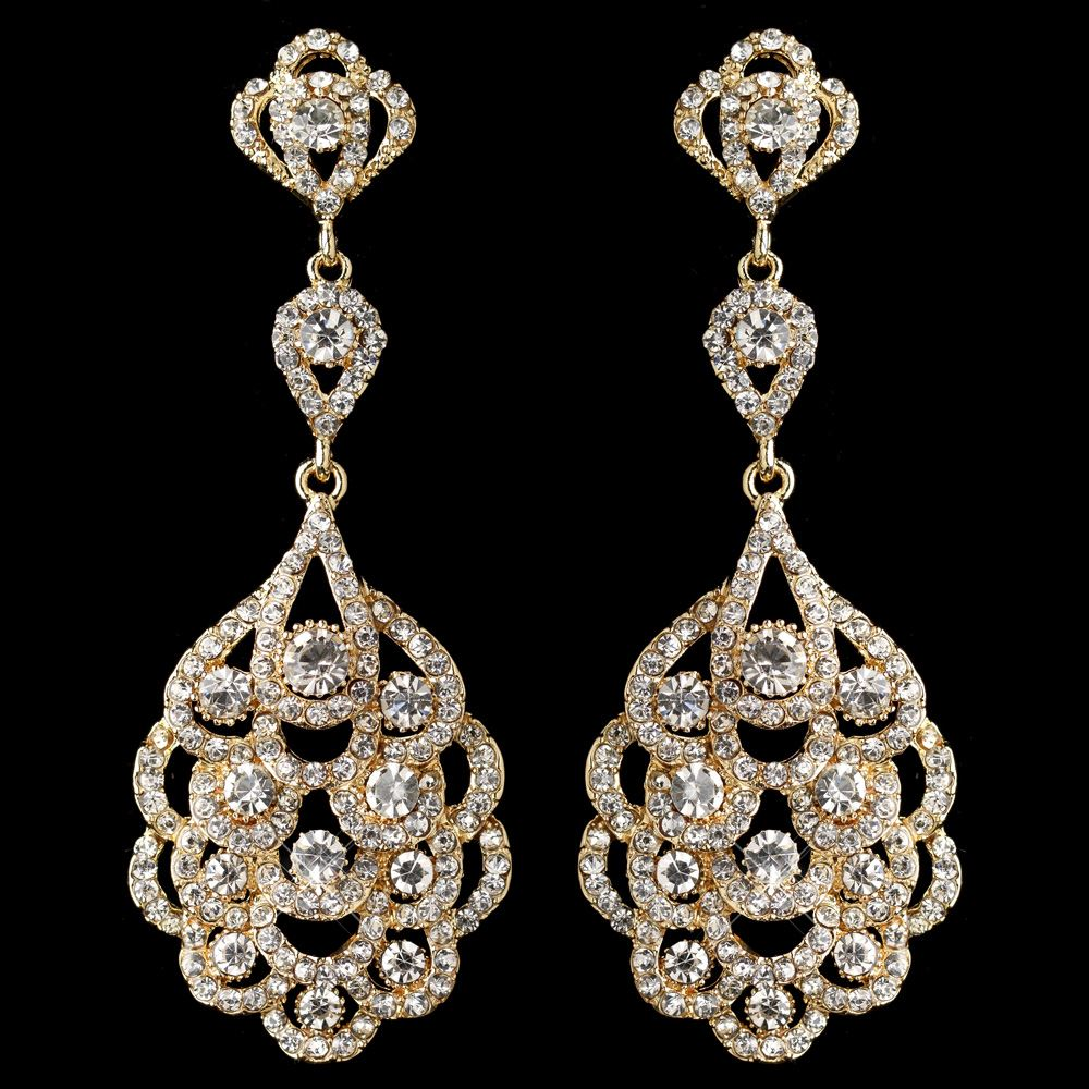 Light gold clear rhinestone chandelier bridal wedding earrings 8685 arubaitofo Choice Image