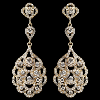 Light gold clear rhinestone chandelier bridal wedding earrings 8685 aloadofball Gallery