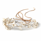 Light Gold Clear Rhinestone & Crystal Rum Pink Floral Leaf Vintage Vine Bridal Wedding Bun Wrap Headpiece 10004 with Organza & Leather Ribbon