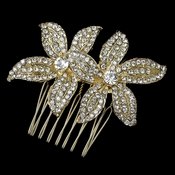 Light Gold Clear Rhinestone Twin Flower Comb
