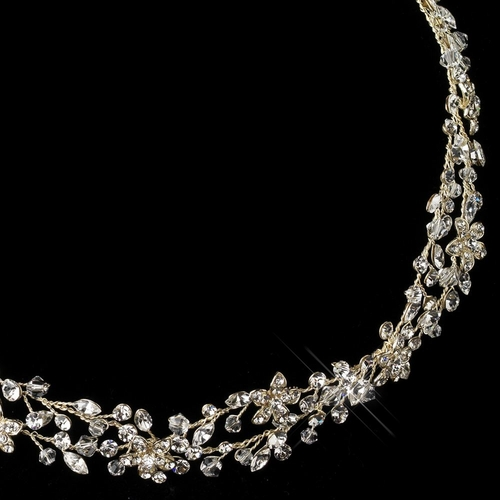 Light Gold Clear Rhinestone Vine Ribbon Headband 6438