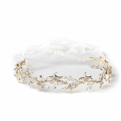 Light Gold Clear Starfish Rhinestone Bridal Wedding Headband 1591