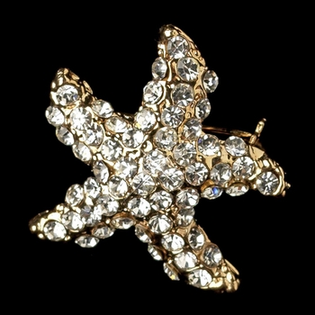Light Gold Clear Stone Starfish Brooch 3168