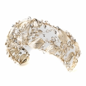 Light Gold Clear Swarovski Crystal Bead & Rhinestone Leaf Bridal Wedding Headband 1564