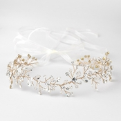 Light Gold Clear Swarovski Crystal Bead Vine Bridal Wedding Ivory Organza Ribbon Accent Headband 10001