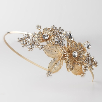 Light Gold Floral Side Accented Bridal Wedding Headband w/ Golden Leaves, Rhinestones & Gemstones 1565