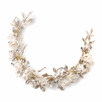 Light Gold Floral Vintage Vine Bridal Wedding Bun Wrap Headpiece 10003 with Satin Ribbon