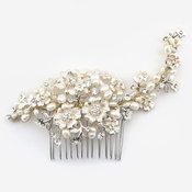 ✧SPECIAL ORDER ONLY✧ Light Gold Ivory Floral Rhinestone & Freshwater Pearl Comb