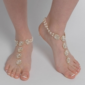 Light Gold Ivory Pearl & Rhinestone Bridal Wedding Foot Jewelry 8