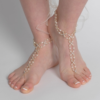 Light Gold Ivory Pearl & Rhinestone XOXO Bridal Wedding Foot Jewelry 10