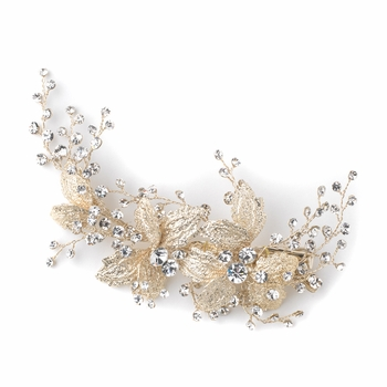 Light Gold Rhinestone Floral Vine Bridal Wedding Hair Clip 10007
