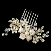 Light Gold Rhinestone & Ivory Pearl Petite Flower Comb 63