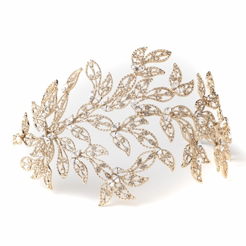 Light Gold Rhinestone Leaf Bridal Wedding Headband 1589