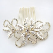 ✧SPECIAL ORDER ONLY✧ Light Gold Swirl Leaf Rhinestone Comb (Minimum 24 pcs x $24 each)