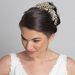 Light Gold Wired Tiara With Crystals Side Headband 4821