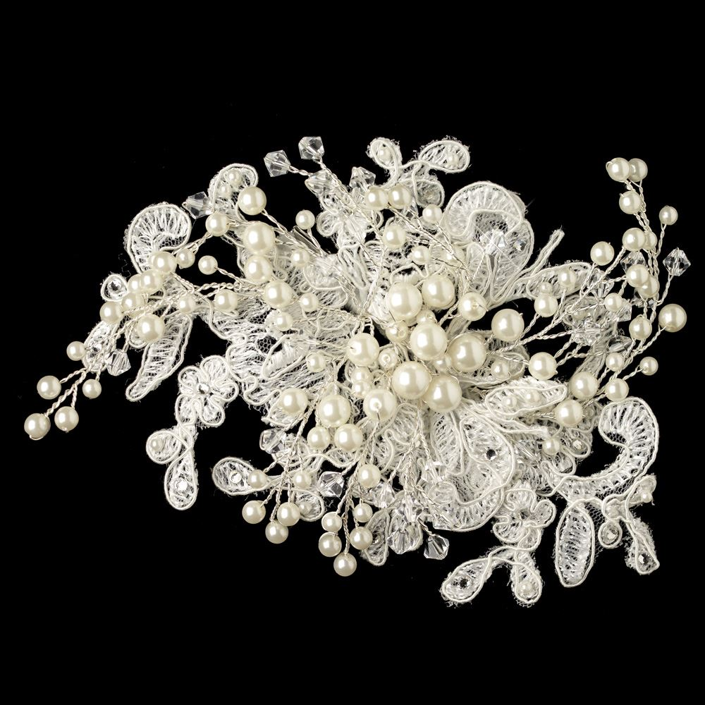 Wedding accessories pearls flowers pearls - Light Ivory Lace Fabric W Pearl Swarovski Crystal Bead Floral Spray Accent Hair Clip 24