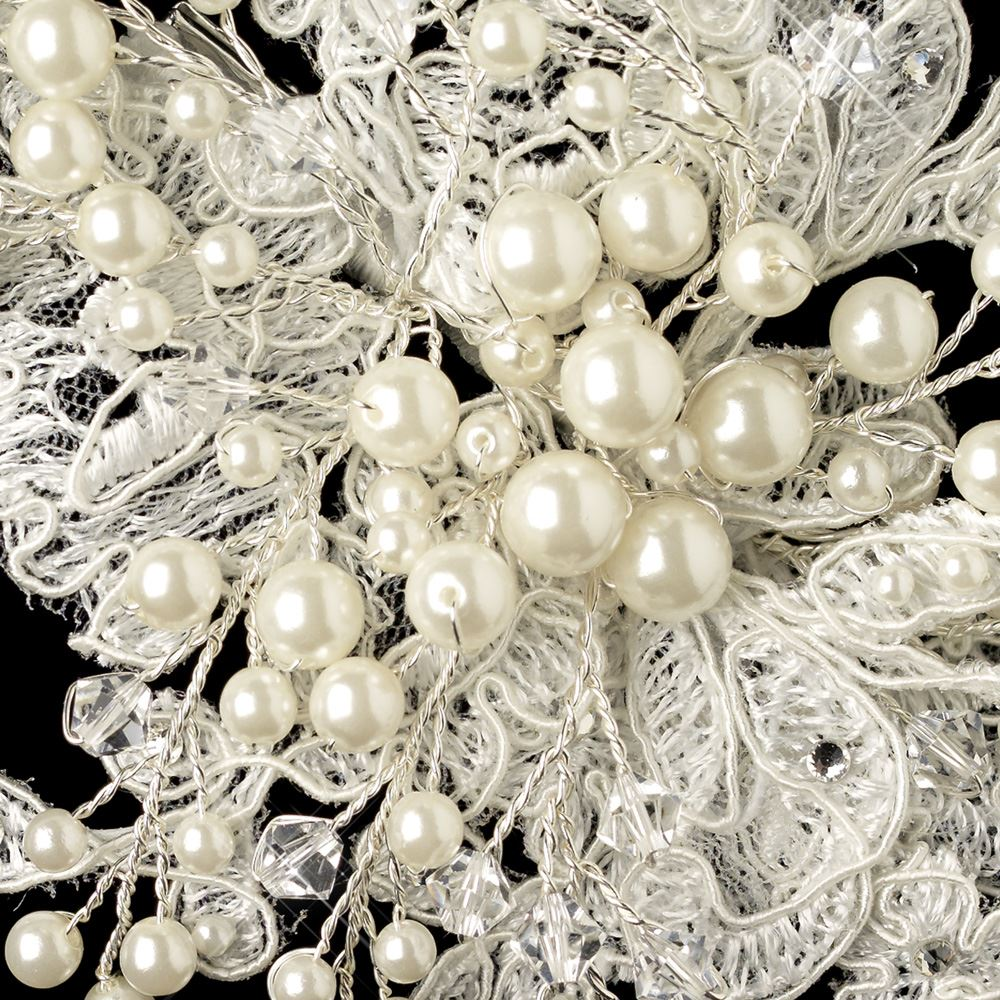 Light Ivory Lace Fabric w/ Pearl & Swarovski Crystal Bead Floral ...