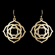 Light Gold Matte Dangle Floral Artistic Earrings 9629