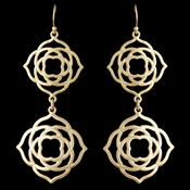 Light Matt Gold Dangle Floral Earrings 9628