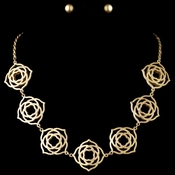 Light Matte Gold Floral Jewelry Set
