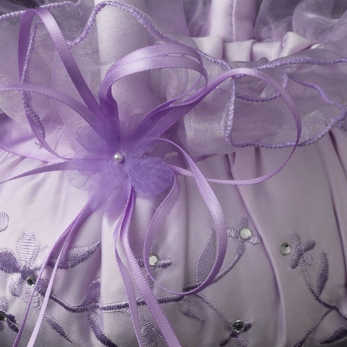 Lilac Lace Ribbon & Sheer Organza Floral Design Flower girl Basket 3 w/ Crystal & Pearl Accents