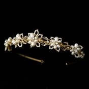 Lovely Gold Ivory Pearl Flower Headpiece 8282 **Just 3 Left**