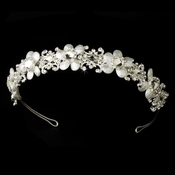 * Lovely Silver Clear Crystal & Ivory Flower Headpiece 8267