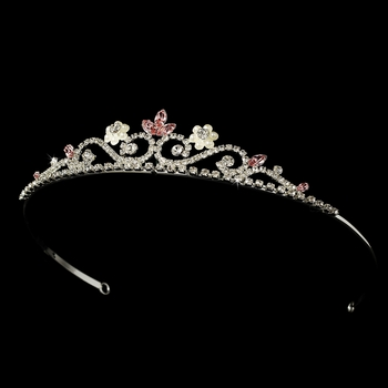 Lovely Silver Clear & Pink Rhinestone Tiara Headpiece 6240