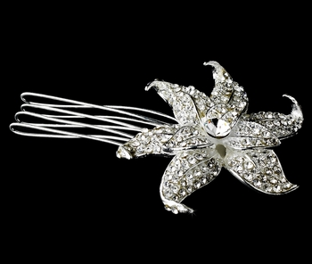 * Lovely Silver Clear Rhinestone Flower Hair Comb 8409