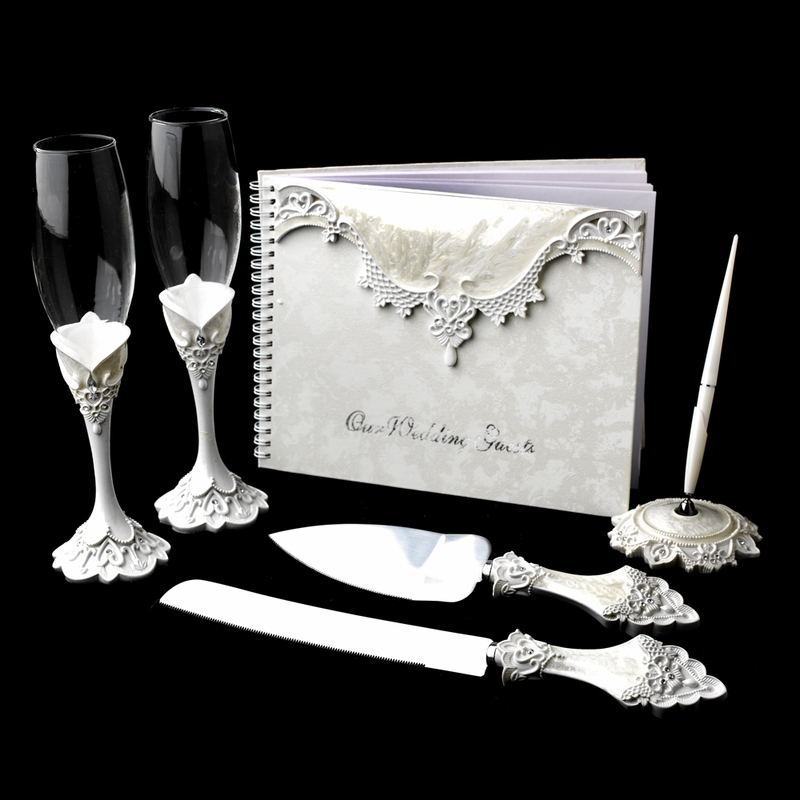 Lace Victorian Matching Guest Book Pen Flute Cake Server Set