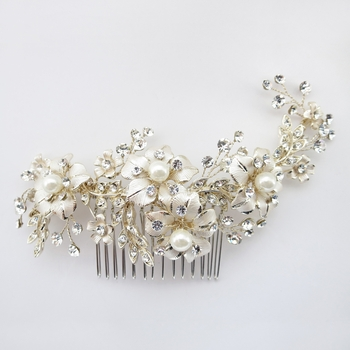 Lt Champagne Gold Plated Rhinestone & Ivory Pearl Floral Comb 62