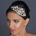 Light Silver Rhinestone & Ivory Pearl Floral Side Headband 1534