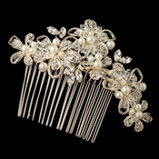 Lt Gold Ivory Pearl Crystal & Rhinestone Comb 64