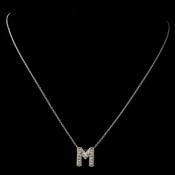 """M"" Clear Rhinestone Letter Initial Pendant Necklace 1"