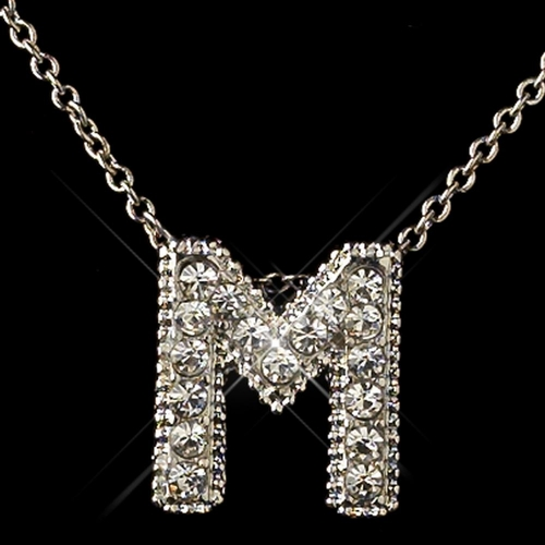 """""""M"""" Clear Rhinestone Letter Initial Pendant Necklace 1"""