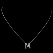 """M"" Sterling Silver CZ Crystal Initial Necklace 4407"