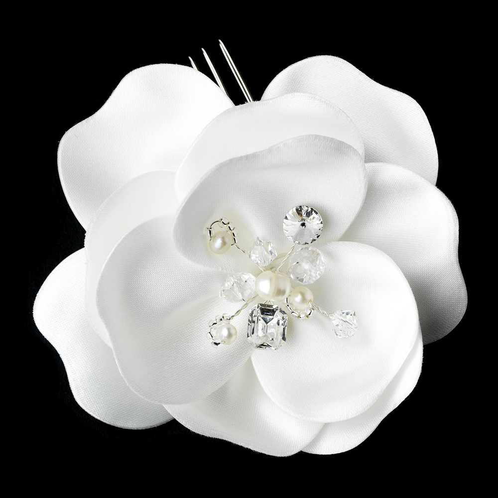 White Silky Matt Satin Flower Bridal Hair Comb Comb 8429