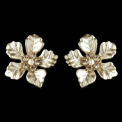 Matte Light Gold & Champagne Pearl Rhinestone Flower Earrings 9905