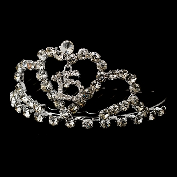 * Miniature Sweet 15 or 16 Rhinestone Covered Tiara Comb (Silver or Gold) 713