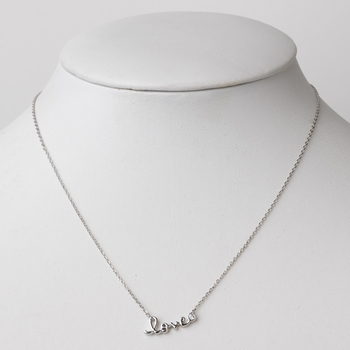 Rhodium Silver Love CZ Crystal Pendent Necklace 3901