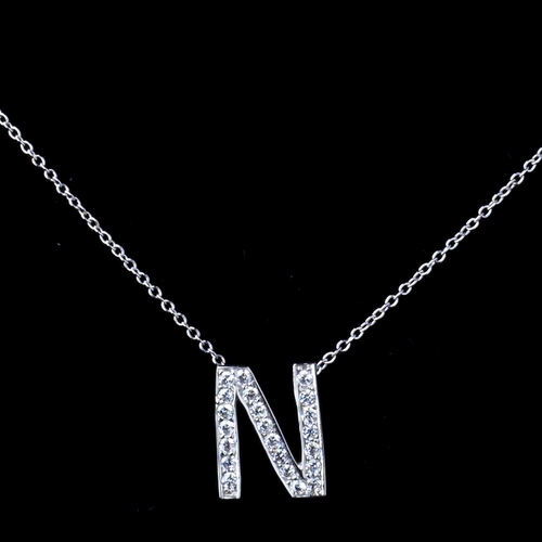 """""""N"""" Sterling Silver CZ Crystal Initial Necklace"""