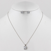 Rhodium Silver CZ Crystal Cushion Cut Jewelry Set 3900