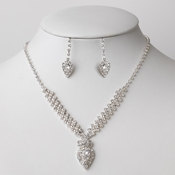 Silver Clear Rhinestone Jewelry Set 48050